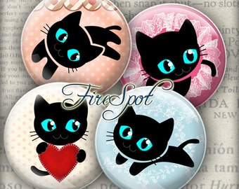 Black Cat,CAT - Digital Collage Sheet 1.5 inch,1.25 inch,30mm,1 inch,25mm  circle, animal, Cat-pad, Glass Pendant, Bottlecaps,Scrapbooking