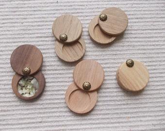 PRICE CUT 1p unfinished wooden locket pendant base,vintage wooden plain locket necklace setting,blank locket pendant, solid perfum tray