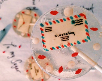 3 Bespoke Marzipan Air Mail Envelope Cherry Flavored Lollipops With White Chocolate Pearls And Lip Candy Dragees