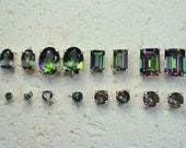 Genuine Stone Mystic Topaz Stud Earrings In Sterling Silver - Choose a size!  Post earring, no nickel and hypoallergenic.