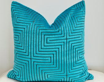 Blue Velvet Pillow Cover,Turquoise Velvet Pillow Cover,Geometric Velvet Pillow Cover,Designer  Pillow Cover