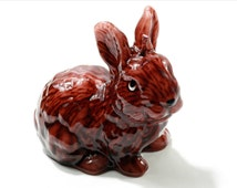Beautiful hand made figural wax candle glossy dark brown bunny rabbit