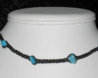 Braided Leather Choker with Turquoise pebbles