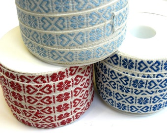 "1 m Woven Ribbon ""Heart of Sweden"" 10 mm w 100 % cotton from Sweden"
