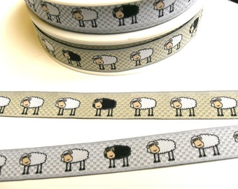 "1 m Woven Ribbon "" Sheep"" 16 mm w. grey beige"