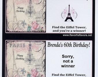 Paris Eiffel Tower party favors scratch off tickets-set of 10