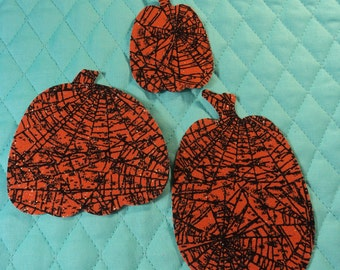 Die Cut Applique Shapes.  Set of 3,   Orange with Spider Web Fabric, 3 Sizes of Pumpkin Shapes.   Fusible (Iron On).