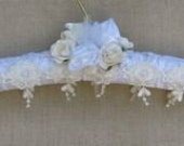 Wedding dress hanger, white, satin, padded, embroidery design trims, pearls, satin roses, bride, bridesmaid, mother of the bride, custom