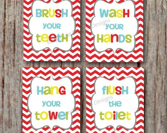 Bathroom Wall Art Kids Bathroom Decor Wash Your Hands Brush Your Teeth Instant Download Printable Children S