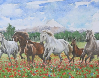 "Original watercolor painting, ""Horses in Mulalo"", 14"" x 19"", contemporary fine art horse painting, realistic wall decor"