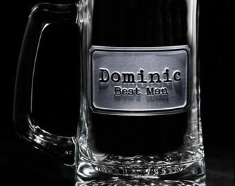 Etched Best Man Beer Mug, Groomsmen Gifts