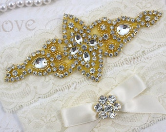 CHLOE - GOLD Wedding Garter Set, Wedding Ivory Stretch Lace Garter, Rhinestone Crystal Bridal Garters