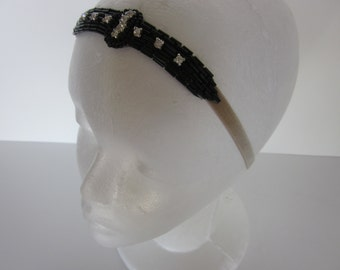Black Headpiece, rhinestones, crystals, beaded headband, great gatsby, art deco, flapper, velvet ribbon, prom headpiece, beaded fascinator