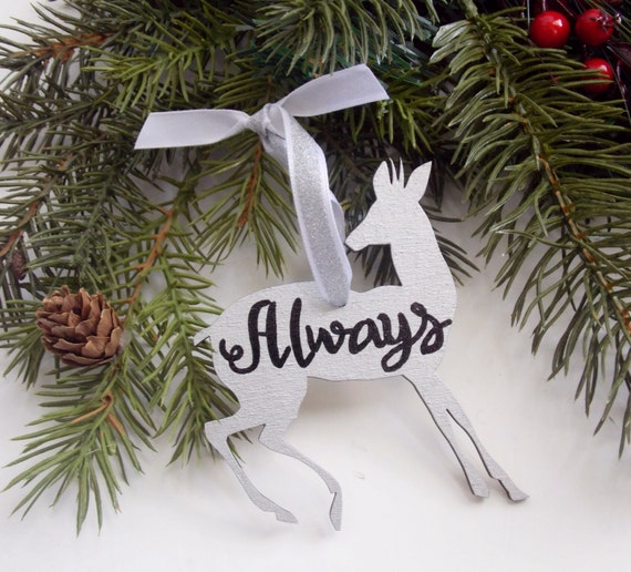 Always Doe Ornament, Wood Ornament, Harry Potter Ornament, Hand Painted Ornament, Patronus Ornament