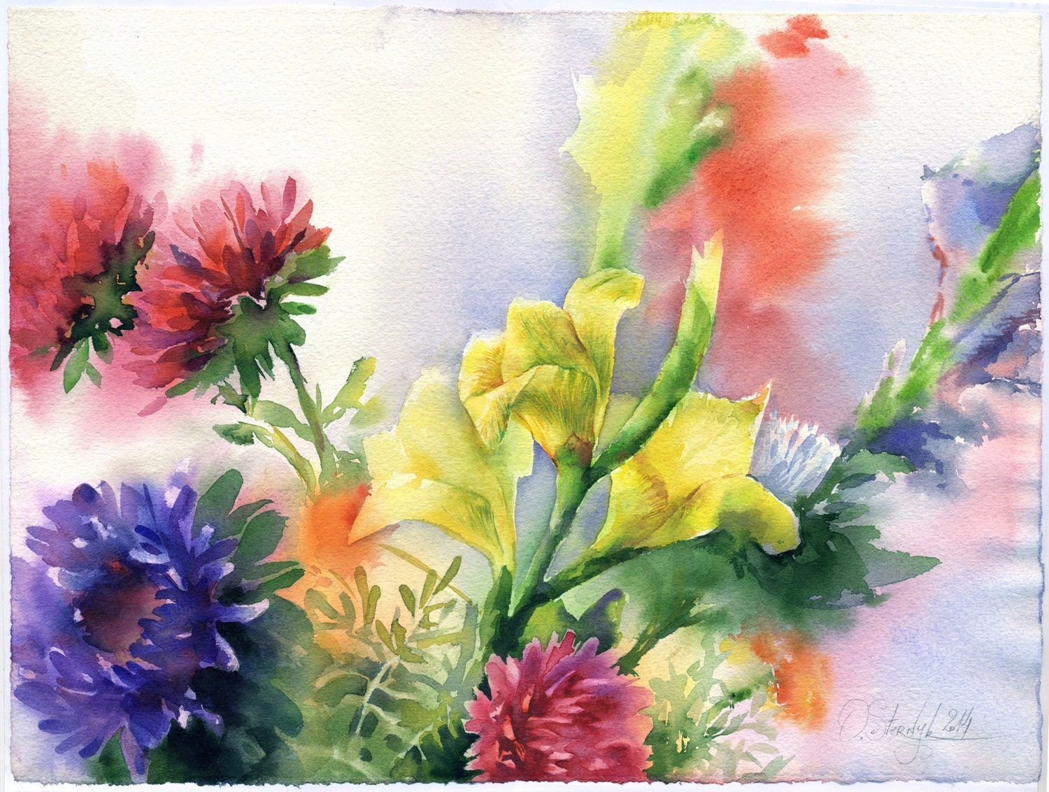 original gladioulus painting asters watercolor painting