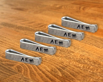 Groomsmen Gift Five (5) Personalized Skinny Tie Clips / Monogram Tie Clip / Custom Tie Clip / Tie Bar / Father's Day Gift / Free Shipping