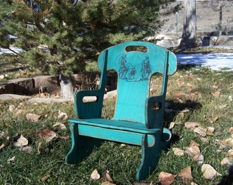 Puzzle Rocker-Rocking chair for kids. Rustic rocking chair, childs rocker. Wooden rocking chair for kid's.