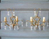 French vintage romantic bronze and crystal double branch wall sconces. Paris apartment. French country cottage chic