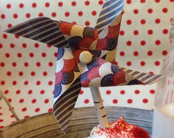 Americana Pinwheel Cupcake Toppers, , Patriotic Mini Pinwheel, July 4th Pinwheel Cupcake Topper, set of 12