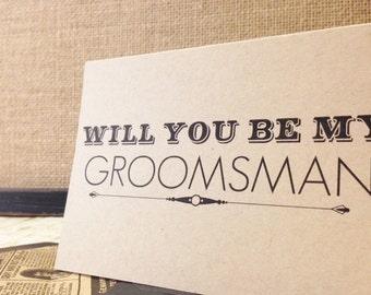 Will You Be My Groomsman Card, Black & Kraft with Lined Envelope, Groomsman proposal