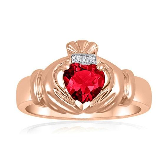 items similar to 14k rose gold men 39 s ruby claddagh ring. Black Bedroom Furniture Sets. Home Design Ideas