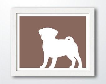 Pug Print - Pug Silhouette (Version 2) - Pug art, dog portrait, modern dog home decor