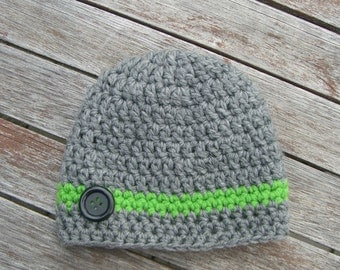Crochet Baby Hat Photo Kids Baby Premie Gray and Green