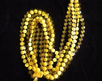 SALE!  Three Strand Yellow Plastic Disc Necklace from the 60s