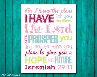 Jeremiah 29:11. For I Know the Plans. Bible Verse. Hope and Future. Christian Decor. Scripture. Children's Wall Art. Little Girl Wall Decor