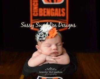 Cincinnati Bengals/Philadelphia Flyers inspired Shabby Flower Headband/Hard Headband.... Newborn, Baby, Girls Photo Prop Bow