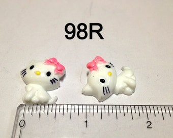 2/3/5 pc Pretty Kitty Cat with Pink Bow #98R  Resin Flat back Cabochon Hair Bow Center