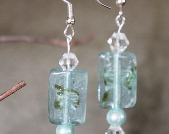 Aqua Ice  dangle earrings look like ice cubes