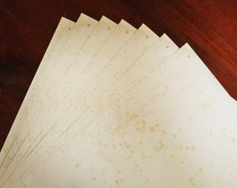 a3 ANTIQUE EFFECT plain paper 25 sheets single-sided vintage blank , age-toned & foxed