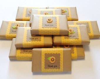 12 Rustic Soap Party Favors with Sunflowers and Kraft Paper Wrap