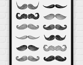 Moustaches (Moustach) - Printable Poster - Digital Art, Download and Print JPG