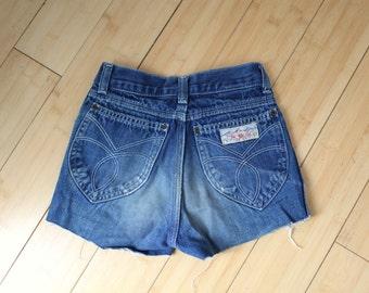 vintage 1970's distressed cut off denim jean shorts kids