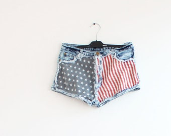 Clearance SALE American Flag Demin Shorts July 4th Demin Shorts Fourth of July Shorts Pocket Demin Shorts with Patriotic Flag