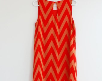 Clearance SALE Coral and Taupe Chevron Dress Cute Zig Zag Pattern Dress