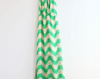 Mint Chevron Maxi Dress