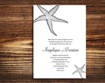 wedding invitations Star Fish Beach theme wedding invite