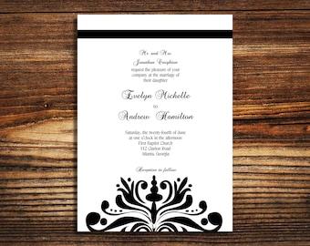 wedding invitations Black and White Elegant wedding invite