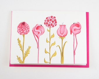 Pink flamingo and flower card