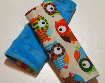Car Seat Strap Covers - Owls