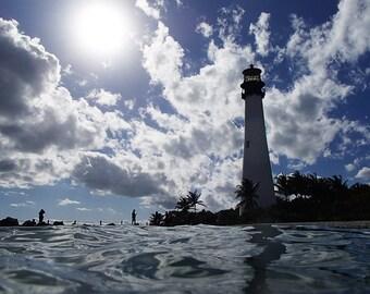 Beach decor, 8x10, 5x7, Lighthouse decor, Lighthouse art, Bill Baggs, Key Biscayne, Ocean decor, Ocean photography, Beach Photography