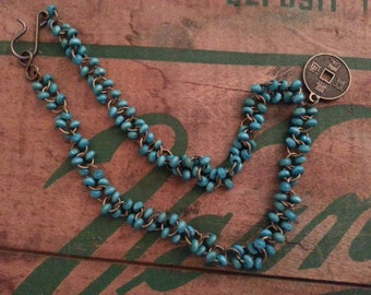 Turquoise Brass Necklace with Stamped Coin Charm