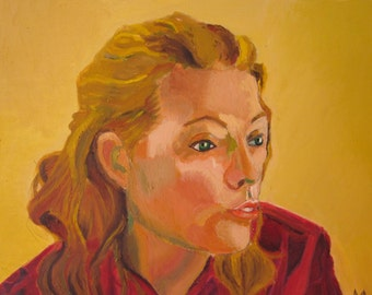 Original oil painting portrait of blond woman