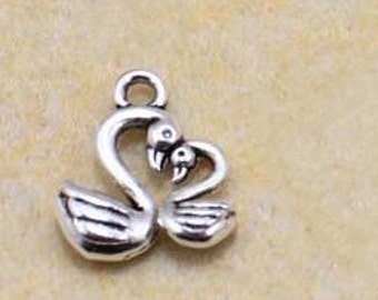 50 pcs of antique silver swan   Charm Pendants two little swan  little bear little fox pendant 12mm