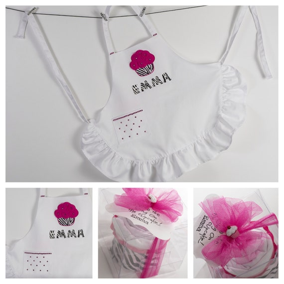 """The """"Sassy & Sweet Lil' Baker"""" Personalized Kids Apron in a Cupcake."""