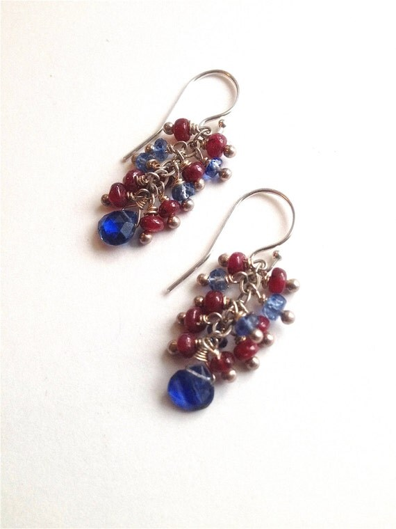 Kyanite Briolette and Ruby Earrings , Ruby Cluster Earrings, Dangle Earrings,  September Birthstone, Indigo , Third Eye, Jeans