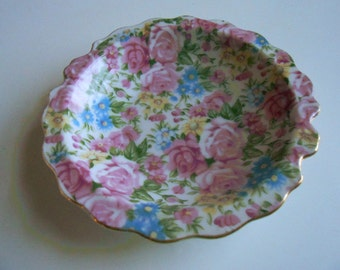 Vintage, Royal Crown, China Dish, Pink, Blue, Green, Marked Collectible Plate